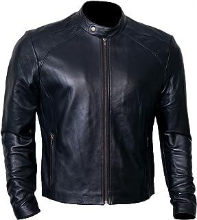 جاكيت جلد أسود للرجال للسائقين | سترات الدراجة النارية من جلد الخراف الأصلي
