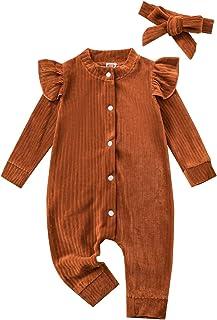 الوليد الرضع طفل الفتيان الفتيات الصلبة رومبير أسفل طويلة الأكمام بذلة الاطفال ارتداءها الملابس (Color : Brown, Size : 6M)