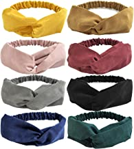 DRESHOW 8 Pack Make Up Headbands for Women Knit Vintage Yoga Hairbands Cross Elastic Head Wrap Hair Accessories