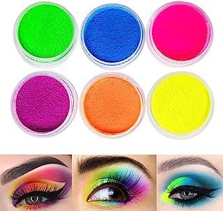 Neon Pigment Eyeshadow Powder,FindinBeauty UV Glow Blacklight 6 Mixed Bright True Colors Eye Shadow Pigments Fluorescent Matte Mica Dye Colorant Neon Makeup Set (6NE)