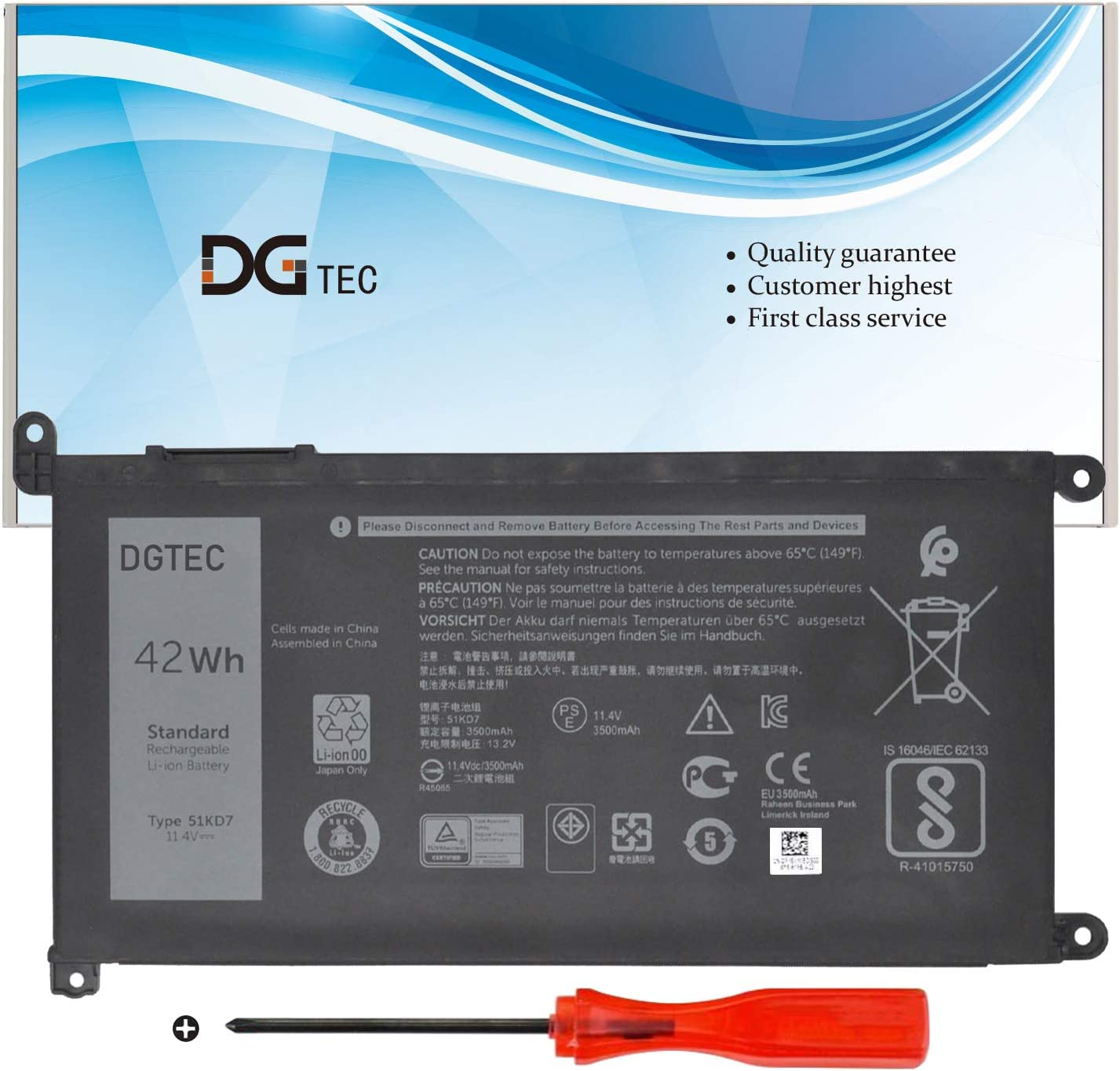 DGTEC 51KD7 Laptop Battery Replacement 31 depot for 11 Chromebook Dell Cheap SALE Start