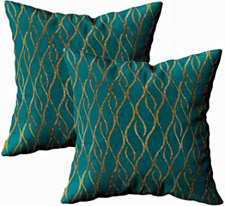 Shorping Zippered Pillow Covers Pillowcases 16x16Inch 2 Pack chic teal gold modern decorator accent Decorative Throw Pillow Cover Pillow Cases Cushion Cover Home Sofa Bedding