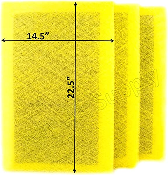 RAYAIR SUPPLY 16x25 MicroPower Guard Air Cleaner Replacement Filter Pads 3 Pack Yellow