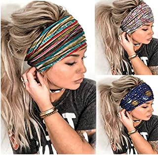 Gortin Boho Headbands Blue Yoga Stretch Stripe Hair Bands Butterfly Print Wide Head Turban Fashion Head Wraps for Women an...