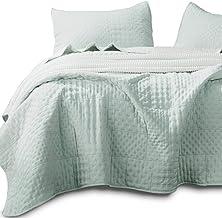 Kasentex Quilted Coverlet Mini Set-Best Lightweight Blanket-Super Soft-Reversible, 2 King Shams, Milky Green/Sheer Pink