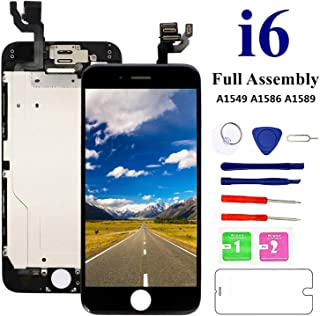 Screen Replacement for iPhone 6 Black, Fully Pre-Assembled LCD Display and Touch Screen Digitizer Replacement with Proximity Sensor, Earspeaker and Front Camera, Repair Tools and Screen Protector
