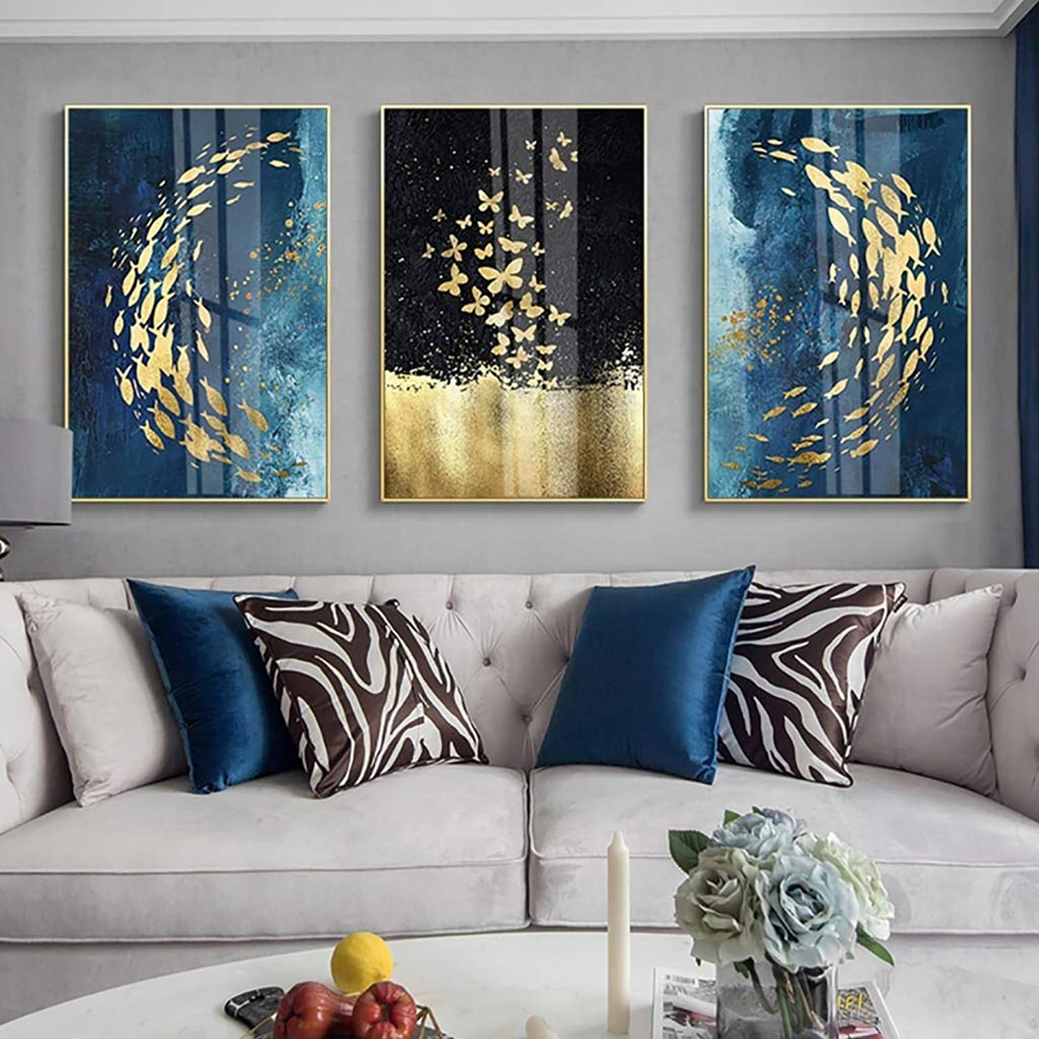 WENJUN Wall Art Picture Art On Canvas Fish Digital Painting Canvas Wall Art Artwork For Home Decoration Wall Decor,3Piece,3 colors,4 Sizes ( color   B , Size   4060CM )
