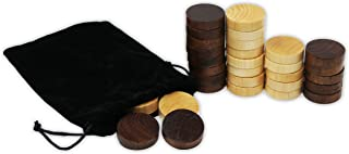 DA VINCI Wooden Backgammon and Checkers Pieces 30 Replacement Game Chips with Cloth Storage Bag