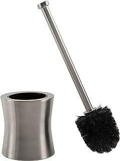 Bath Bliss Hour Glass Shape Weighted Bottom Toilet Brush & Holder Set, Hygienic Rust Resistant, Heavy Duty Brush, Silver