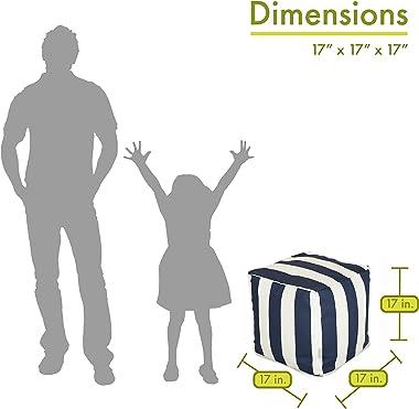 "Majestic Home Goods Navy Blue Vertical Stripe Indoor / Outdoor Bean Bag Ottoman Pouf Cube 17"" L x 17"" W x 17"" H"