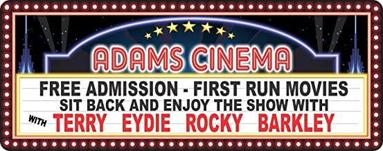 Personalized Home Theater Sign - Vintage Style Movie Marquee Plaque with Your Custom Names - Movie Theater Decor