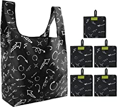 Grocery Shopping Bags Reusable Foldable 5 Pack 50LBS Ripstop with Small Pouch Xlarge Cute Indicator Arrow Fashion Gifts Bags Machine Washable Waterproof Lightweight Durable Black …