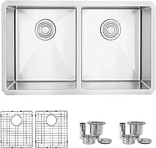 STYLISH 30-Inch Undermount Kitchen Sink Double Bowl 16 Gauge Stainless Steel Handmade Kitchen Sink, Bottom Grids and Luxury Basket Strainers S-304XG