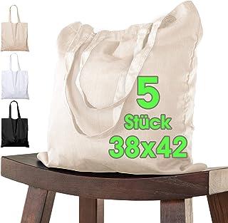 Katoenen tas, 38 x 42 cm, onbedrukt, twee lange hengsels, Oeko-Tex® gecertificeerd, stoffen tas, draagtas, katoenen tas, b...