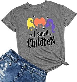 HRIUYI Plus Size I Smell Children Shirts Women Funny Hocus Pocus Shirt Halloween Costumes Top Tee Shirt