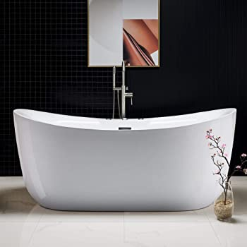 "Woodbridge 71"" x 31.5"" Water Jetted and Air Bubble Freestanding Bathtub, Whirlpool Tub"