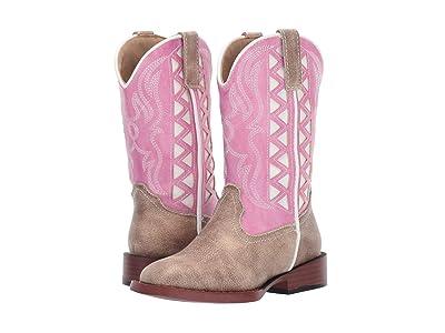 Roper Kids Askook (Toddler/Little Kid) (Tan Vamp/Pink Embroidered Shaft) Cowboy Boots