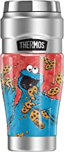 Sesame Street Cookie Monster Character THERMOS STAINLESS KING Stainless Steel Travel Tumbler, Vacuum insulated & Double Wa...