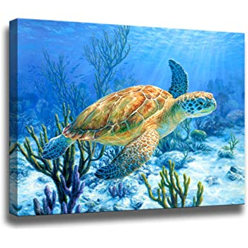 """Bathroom Decor Sea Turtle Pictures Painting Wall Art Beach Decor Canvas Prints Nautical Bathroom Wall Decor Canvas Wall Art Coastal Decor Ocean Decor Small Framed Artwork For Walls Size:12""""x16""""inch"""