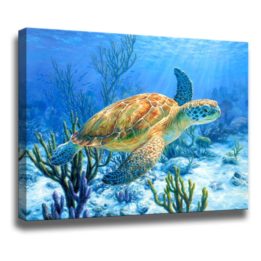 Amazon Com Bathroom Decor Sea Turtle Pictures Painting Wall Art Beach Decor Canvas Prints Nautical Bathroom Wall Decor Canvas Wall Art Coastal Decor Ocean Decor Small Framed Artwork For Walls Size 12 X16 Inch Posters
