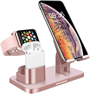 Bentoben 3-In-1 Charging Stand, Universal Charging Dock Station Compatible With Airpods Apple Watch Series 4/3/2/1 Iphone Xs Max Xs Xr X 8 7 6S 6 Plus Se 5S 5 Android Smartphone Ipad Tablet, Rose Gold