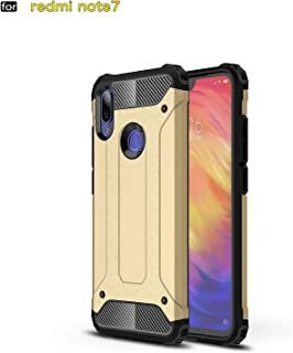 for Xiaomi Redmi Note 7 Case Hybrid Dual Layer Heavy Duty Shockproof PC and TPU Cover + 1 Screen Protector 9H Tempered Glass Protector HD Clear Film-Gold