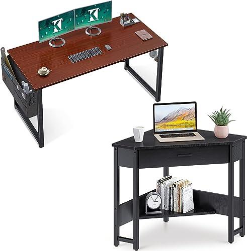 ODK Computer Writing Desk 39 inch Teak & Corner Desk with Smooth Keyboard Tray & Storage Shelves, Black