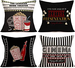 Gulidi Movie Theater Throw Pillow Covers Set of 4 Cotton Linen Vintage Cinema Ticket Fresh Popcorn Cola Filmstrip Home Decor Family Theater Pillow Case 18x18 Inches Square Pillowcases for Sofa