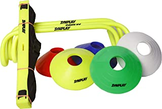 """SYNPLAY Speed and Agility Soccer Training Kit 2"""" Cone, 6"""" Hurdle, 4M Ladder, Bag Standard (Multi-color)"""