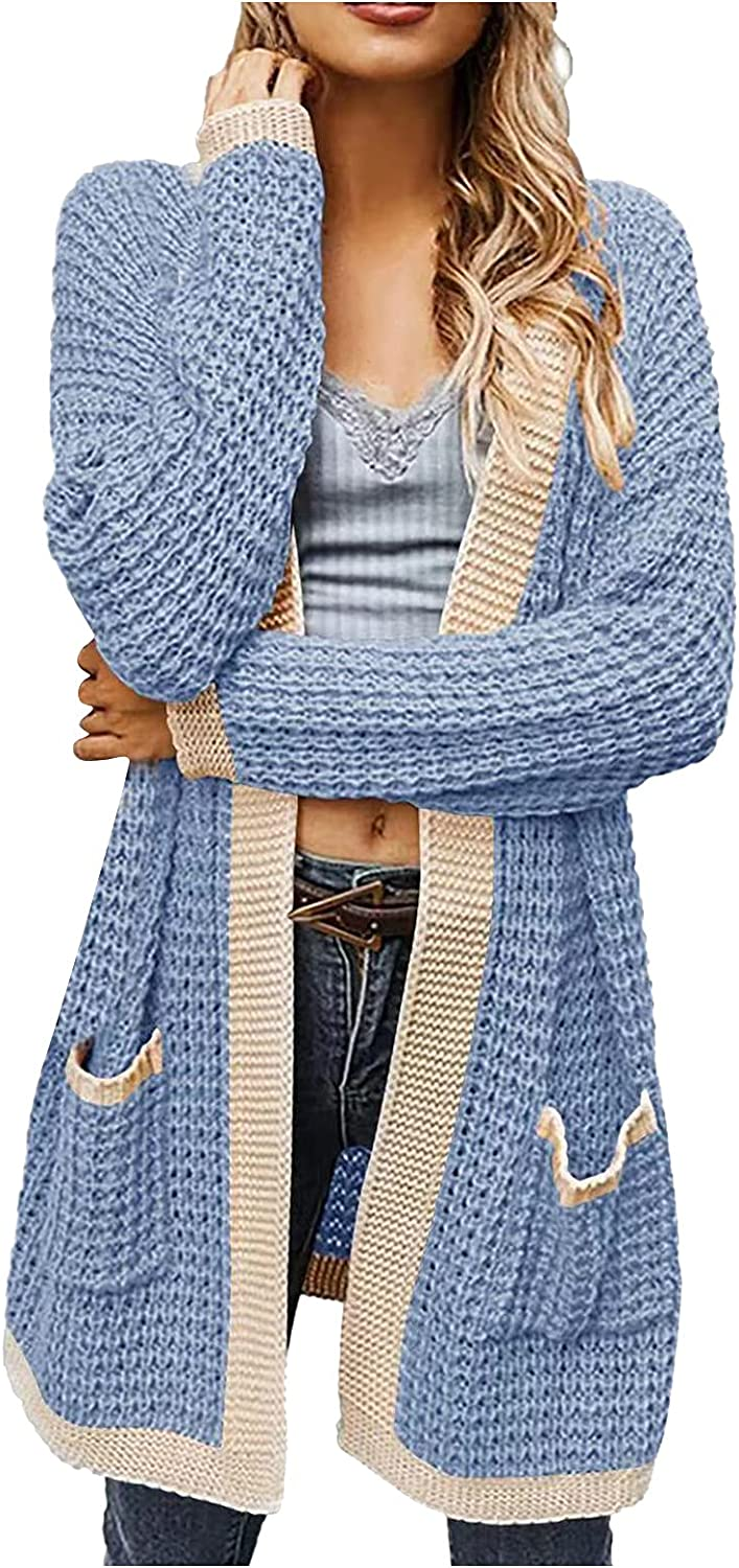 SERYU Women's Cable Knit Long Sleeve Sweater Cardigan Open Front Long Cardigans Pocket Hooded Casual Outwear
