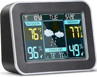 xdrfxrghjku Termómetro Wireless Weather Forecast Station, Termómetro De Banda De Color Digital Interior Y Exterior, Monito...