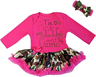 Baby I'm The Pink in My Daddy's World of Camo Valentine's Day Bodysuit Tutu Dress
