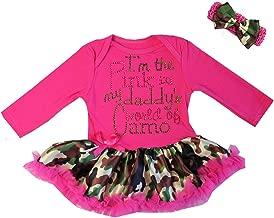 Baby I'm The Pink in My Daddy's World of Camo Valentine's Day Bodysuit Tutu Dress