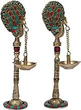 Kartique Brass Hanging Chain Table Diya Stand Set Peacock Pair Traditional Deepak Deepam for Home Entrance Decor Diwali Dipak Temple Pooja Multicolor (Multicolor)