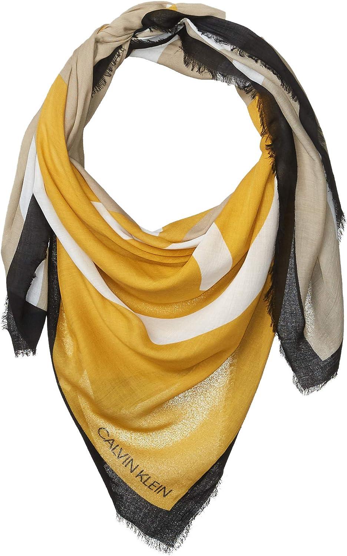 Calvin Klein Women's Abstract CK Logo Colorblock Yellow and Grey 100% Rayon Scarf, Ochre, 1