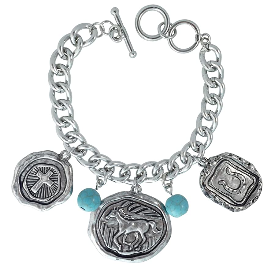 Gypsy Jewels Simulated Turquoise Beaded Western Style Dangle Charms Horse Cross & Horseshoe Silver Tone Small Fit Bracelet