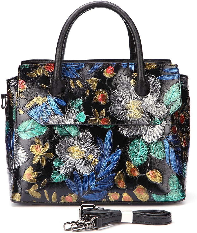 Genuine Leather Top Handle Bags Embossed Retro Tote Handbag Leisure Women Sling Shoulder Messenger Crossbody Bag Multicolor
