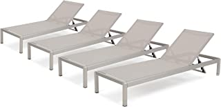 Christopher Knight Home 300495 Crested Bay Outdoor Aluminum Chaise Lounge Chair | Set of 4 | in Grey