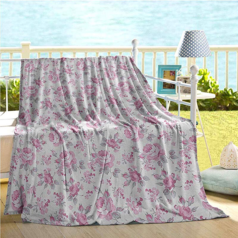Mademai Shabby Chic Decor Baby Blanket Pink Roses With Grey Leaves Bedding Plants Spring Blossoms Big Blanket Light Pink White Grey 60 X80