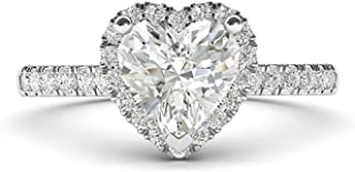 10k White Gold Simulated Heart-shaped Diamond Halo Engagement Ring with Side Stones Promise Bridal Ring