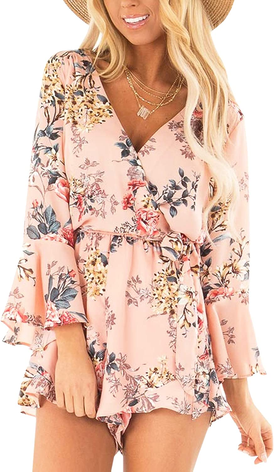 AIMCOO Women's Summer Floral Print sold out Romper Bell Selling rankings Long Neck V Deep