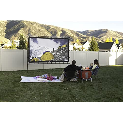 Camp Chef Outdoor Entertainment Gear 144 inch, 16:9 Ultra-Sharp, Silver-Infused Projector Screen with Durable, Easy Setup Steel Stand. Supports 4K Ultra HD and 3D. Front and Rear Projection Capable.