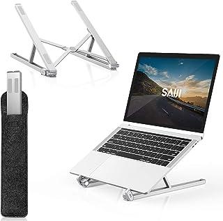 SAIJI Laptop Stand, Portable Laptop Raiser Computer Stand for Desk, Adjustable Aluminum Desktop Holder with Foldable Lapto...
