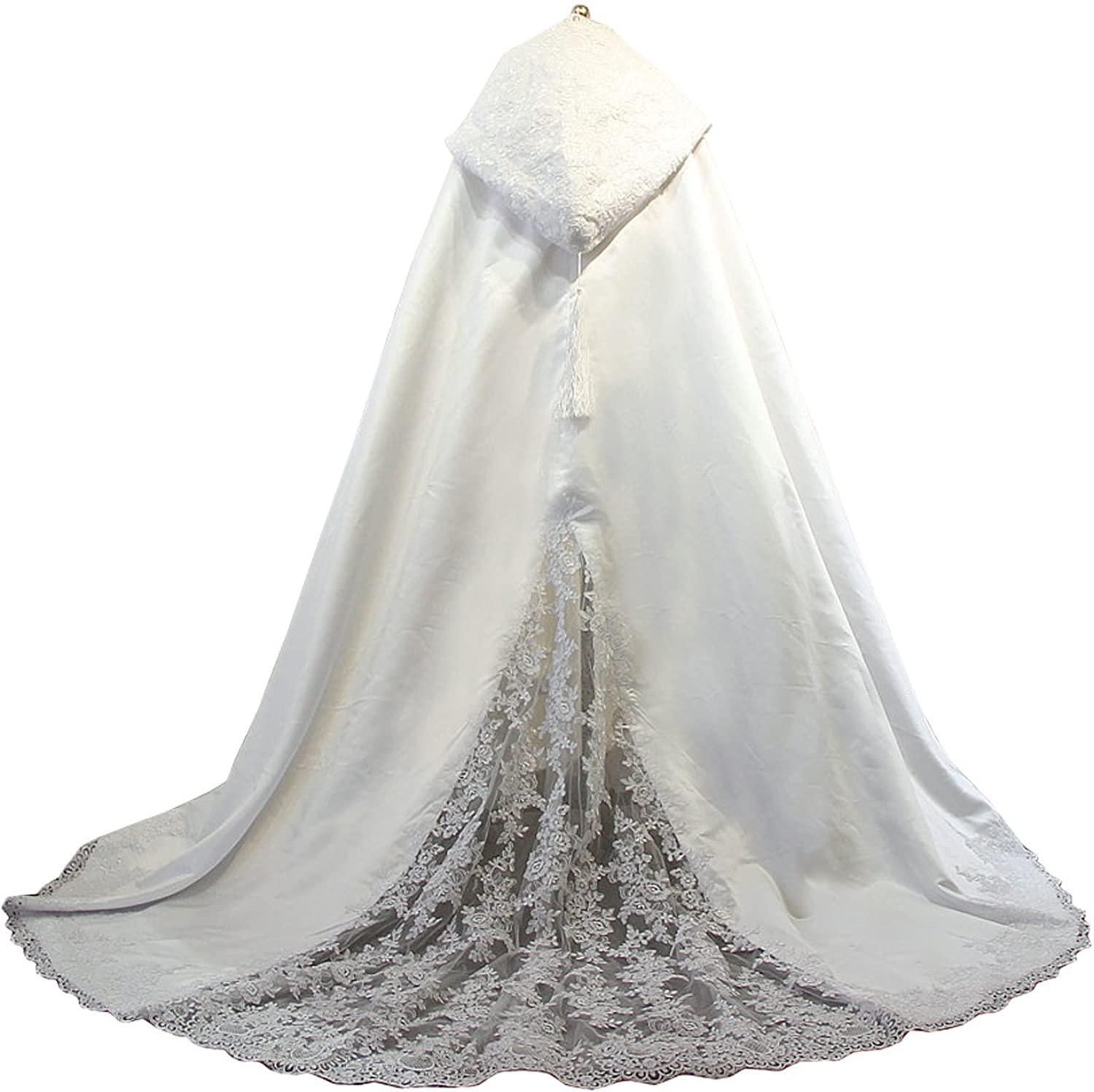 Wedding Cape Hooded Cloak For Bride Lace Applique Cathedral Cape