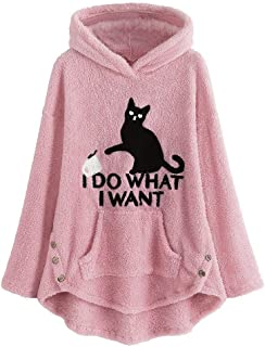 iNoDoZ Womens Cat Embroidery Warm Coat Fleece Plus Size Winter Hoodie Top Button Sweater Blouse Pullover Jacket