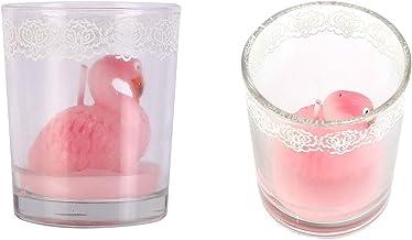 شموع بوسفورس بتصميم فلامينجو زجاجي , زهري فاتح , 814044A