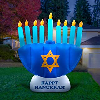 Holidayana 8ft Giant Inflatable Hanukkah Menorah Decoration, with Built-in Bulbs, Tie-Down Points, and Powerful Built in Fan