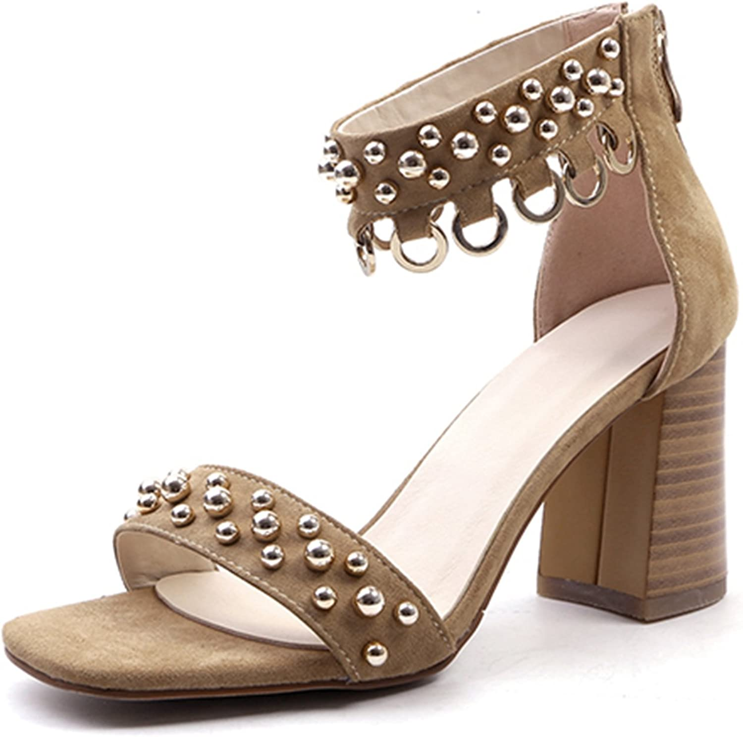 DoraTasia Women's Summer Open Toe Covered Chunky Block Heel shoes Ankle Strap Zipper Sandals
