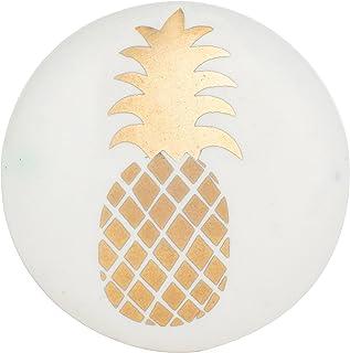 Juego de 6 pomos de cerámica de piña dorada para armarios aparadores y cajones