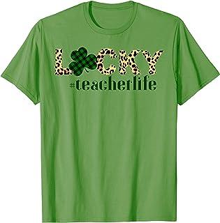 Buffalo Plaid Leopard Shamrock Lucky Teachers St. Patrick's T-Shirt